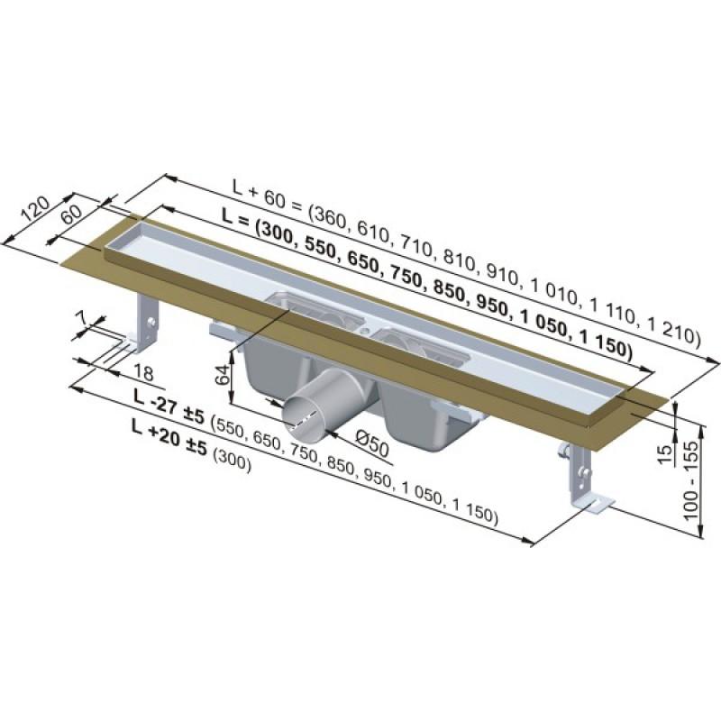 alcaplast duschrinne 90 cm 199 00. Black Bedroom Furniture Sets. Home Design Ideas