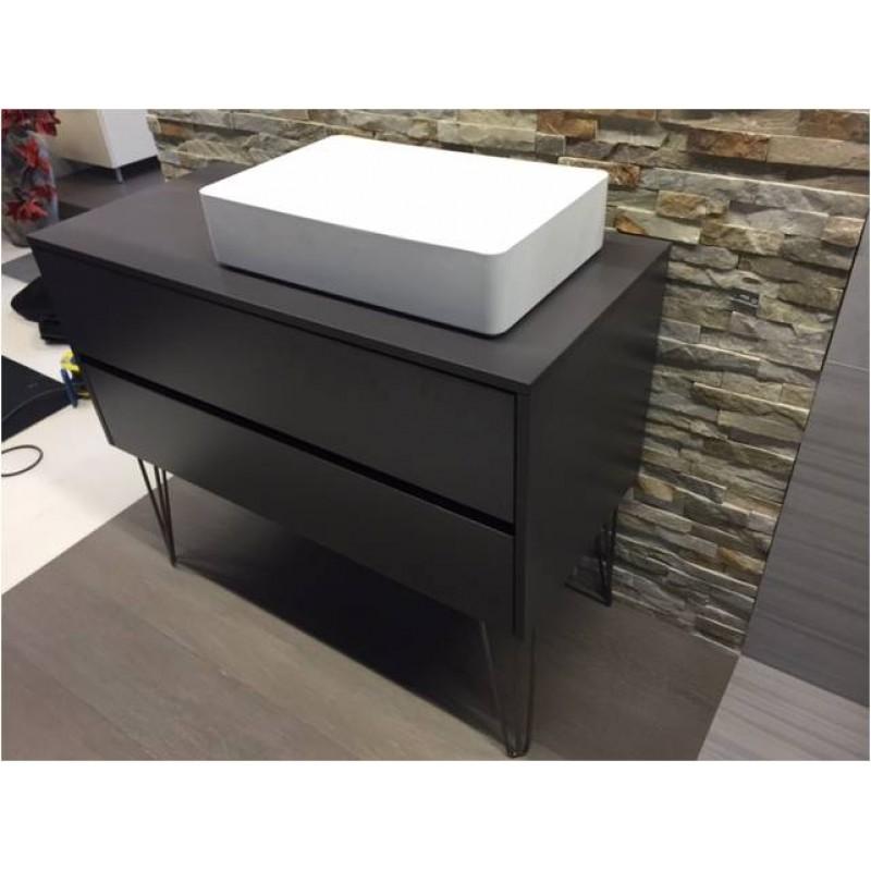Badm bel 111 5 cm bodenstehend industriedesign mit mineralguss - Badmobel mit aufsatzwaschbecken ...