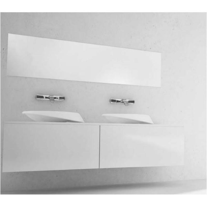 Badmöbel 180cm Madera mit Zwei Aufsatz-Mineralguss Waschbecken & | {Waschbecken mit unterschrank modern 39}