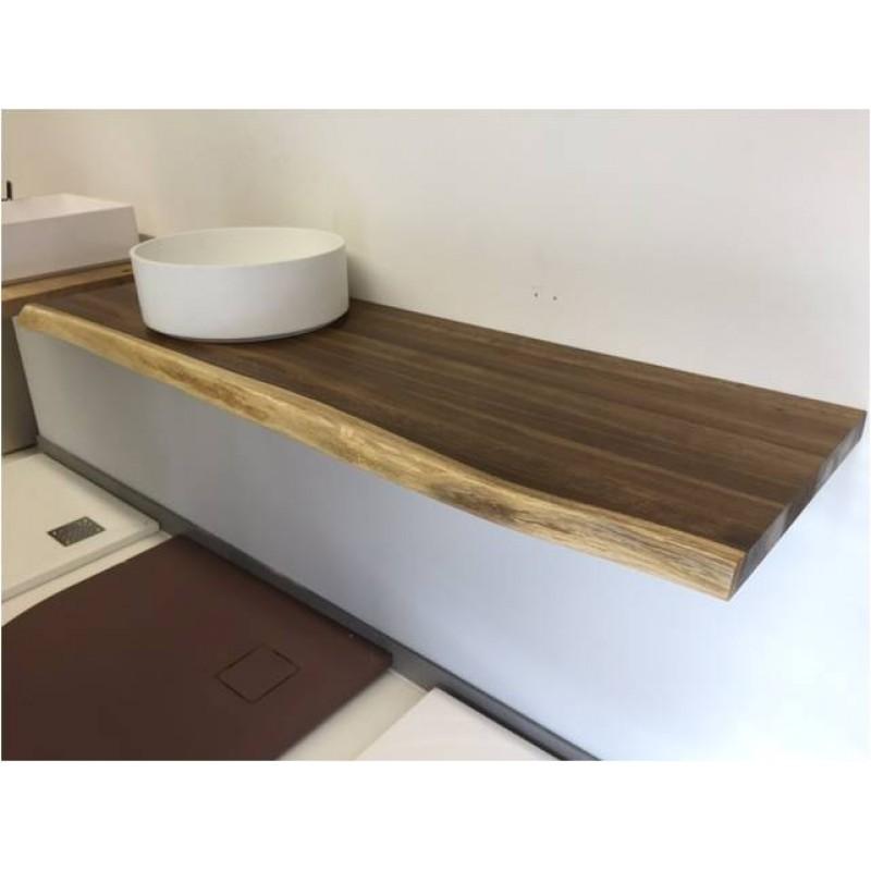 Echtholz Waschtischplatte 140x45x4 cm Eiche mit Baumkante
