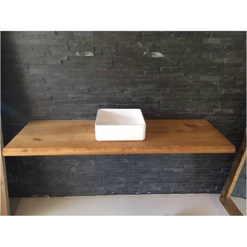 eiche massiv echtholz waschtischplatte mit baumkante ge lt in ve. Black Bedroom Furniture Sets. Home Design Ideas