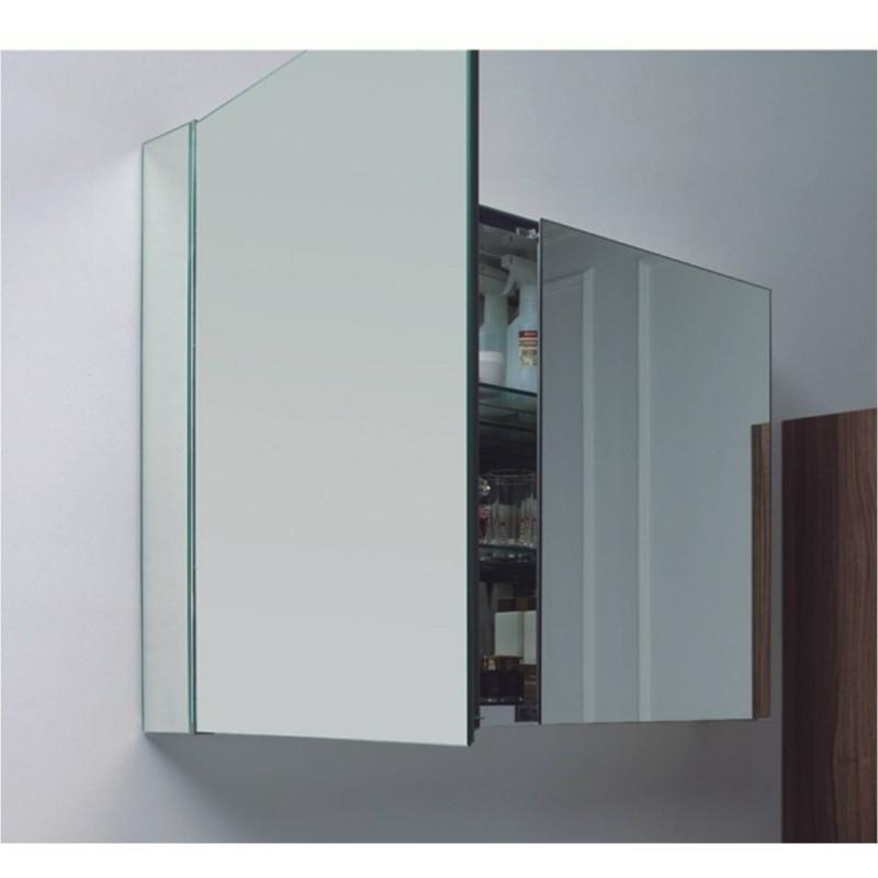 Aluminium Spiegelschrank 100 Cm Mit 2 Ablagefächern, 199