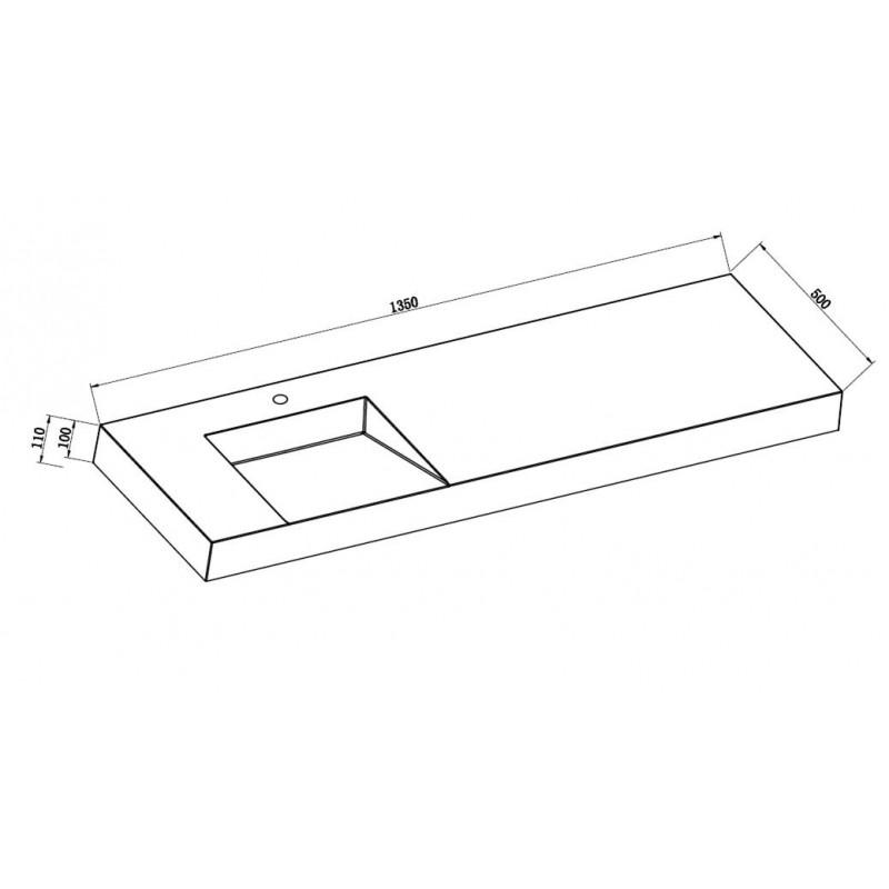 Toiletten Dusche Aufsatz : Mineralguss Aufsatz-Waschbecken mit Ablaufschlitz Links 1350x500x100