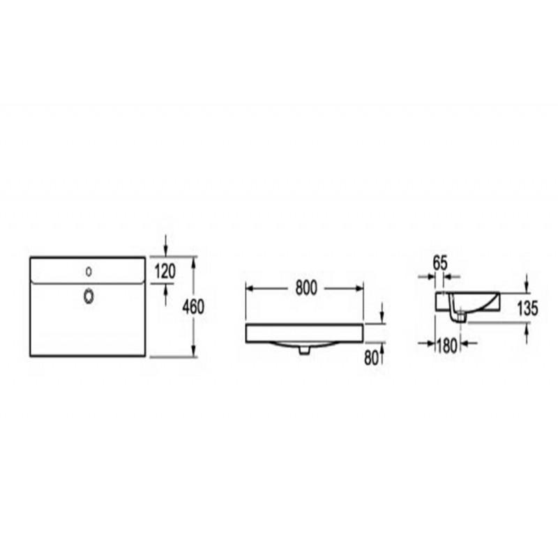 Toiletten Dusche Aufsatz : Keramik Aufsatz-Waschbecken Eckig 800x480x90 mm, 149,00 ?