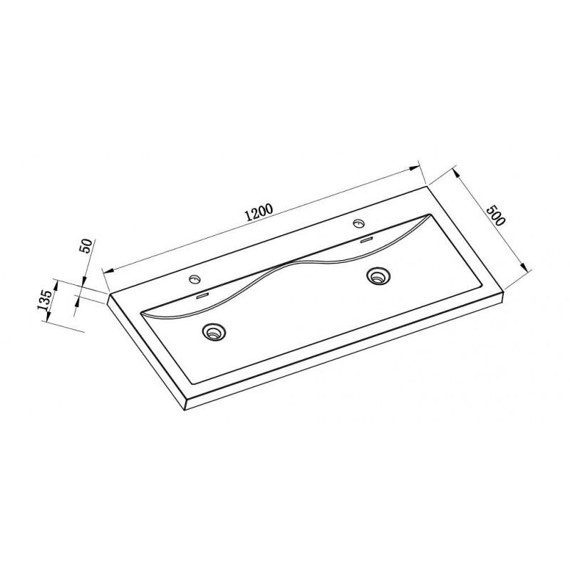 Toiletten Dusche Aufsatz : Mineralguss Aufsatz-Doppel-Waschbecken 1200x500x50 mm, 269,00 ?