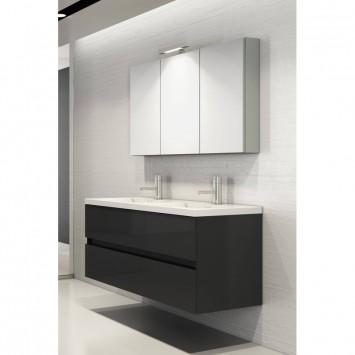 badm bel set mit doppelwaschbecken in120 cm grau hochglanz mit s. Black Bedroom Furniture Sets. Home Design Ideas