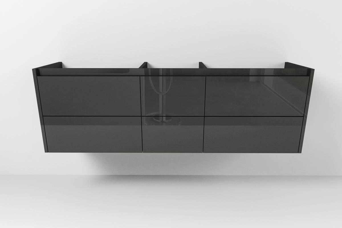 Waschtischunterschrank Typ 111 nach Maß mit sechs außenliegenden Schubladen  mit Griffmulden
