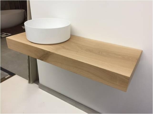 Waschtischplatte 102x40 5x10 cm auf gehrung eiche vollmassiv echtholz - Waschtischplatte echtholz ...