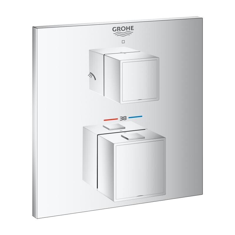 grohe thermostat unterputz duscharmaturenset grohtherm cube mit regen. Black Bedroom Furniture Sets. Home Design Ideas