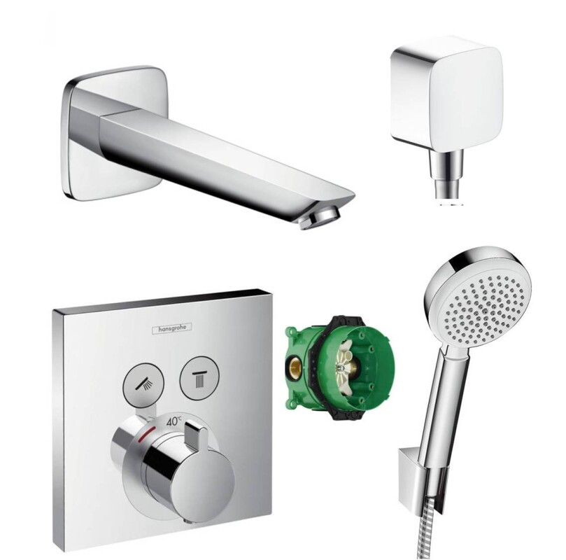 hansgrohe shower select thermostat unterputz badewannenarmatur wannen. Black Bedroom Furniture Sets. Home Design Ideas