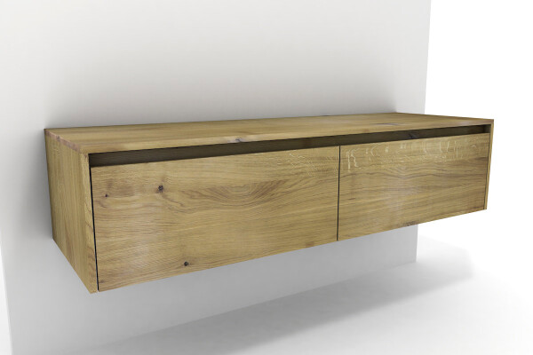Badschrank Holz Eiche massiv 2 Schubladen | nach Maß