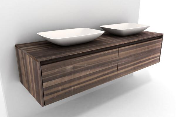 Doppelwaschtisch mit unterschrank nussbaum massiv for Spiegelschrank doppelwaschbecken
