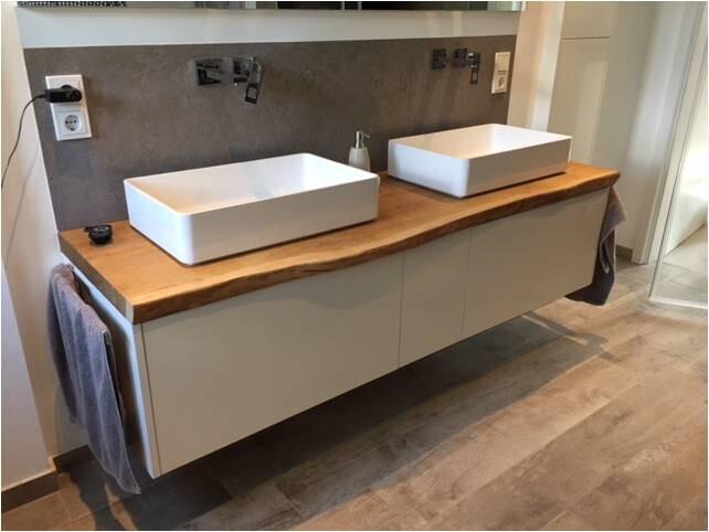 Waschbeckenunterschrank mit massiver Eiche Waschtischplatte mit  Aufsatzbecken