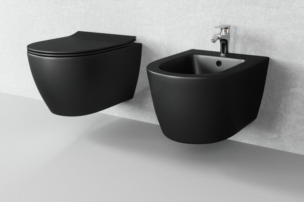 sp lrandlos h nge wc schwarz matt one bath. Black Bedroom Furniture Sets. Home Design Ideas