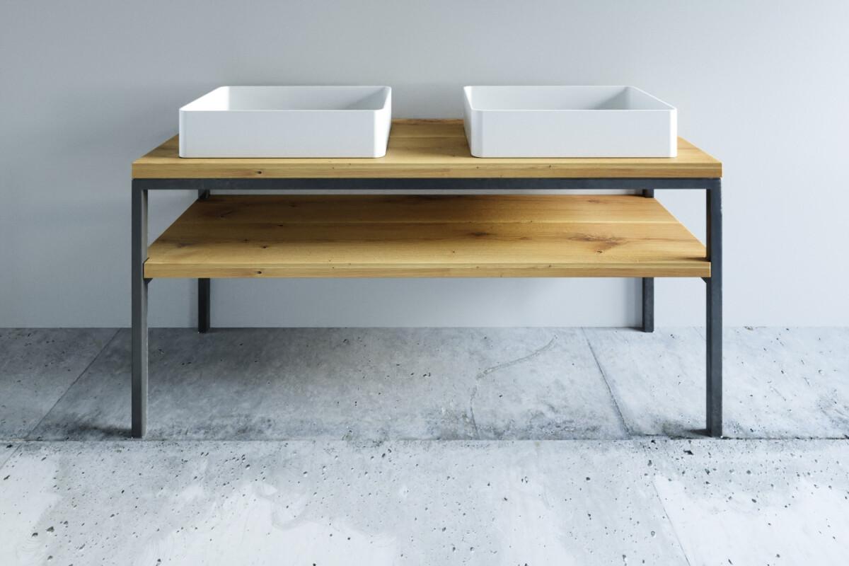 massivholz badm bel mit stahl one bath. Black Bedroom Furniture Sets. Home Design Ideas