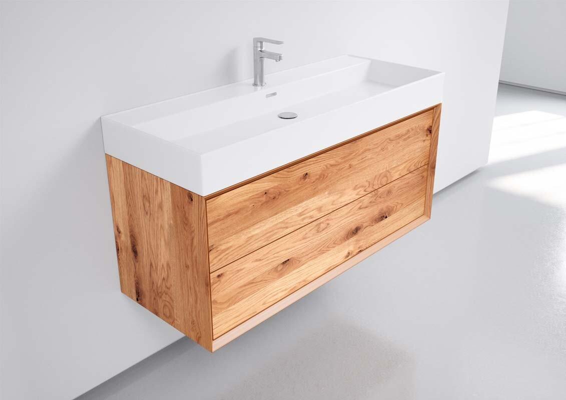 Waschbeckenunterschrank hängend Eiche massiv 20 Schubladen inkl. Becken  weiss glanz 200cm