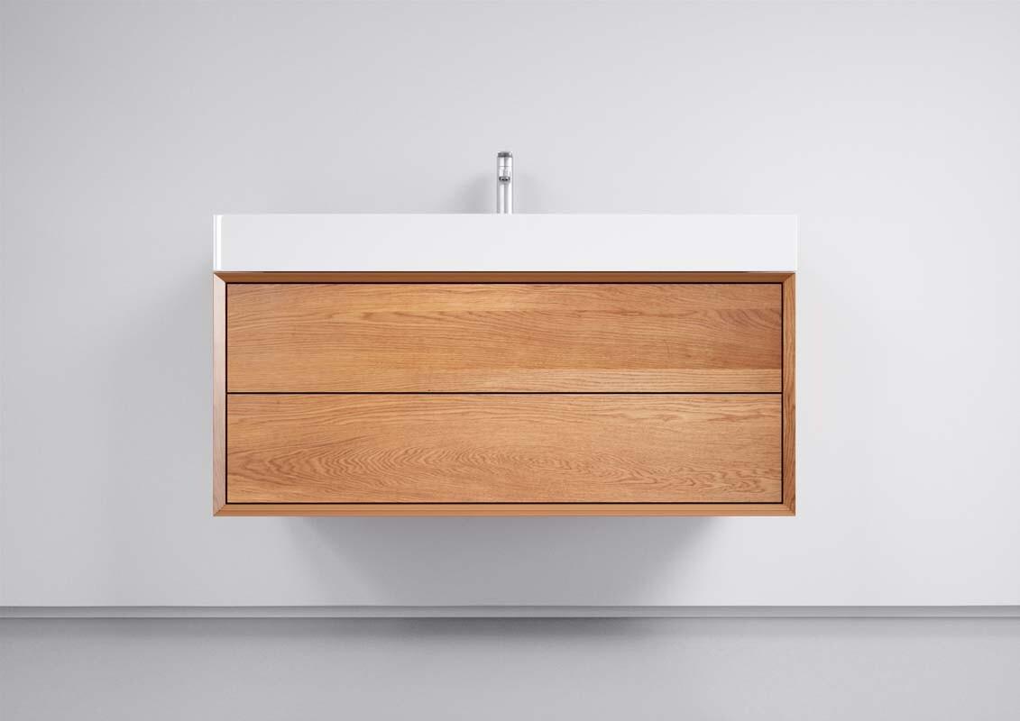 Waschtisch Eiche Badezimmer inkl. Becken und 20 Schubladen weiss glanz 200cm