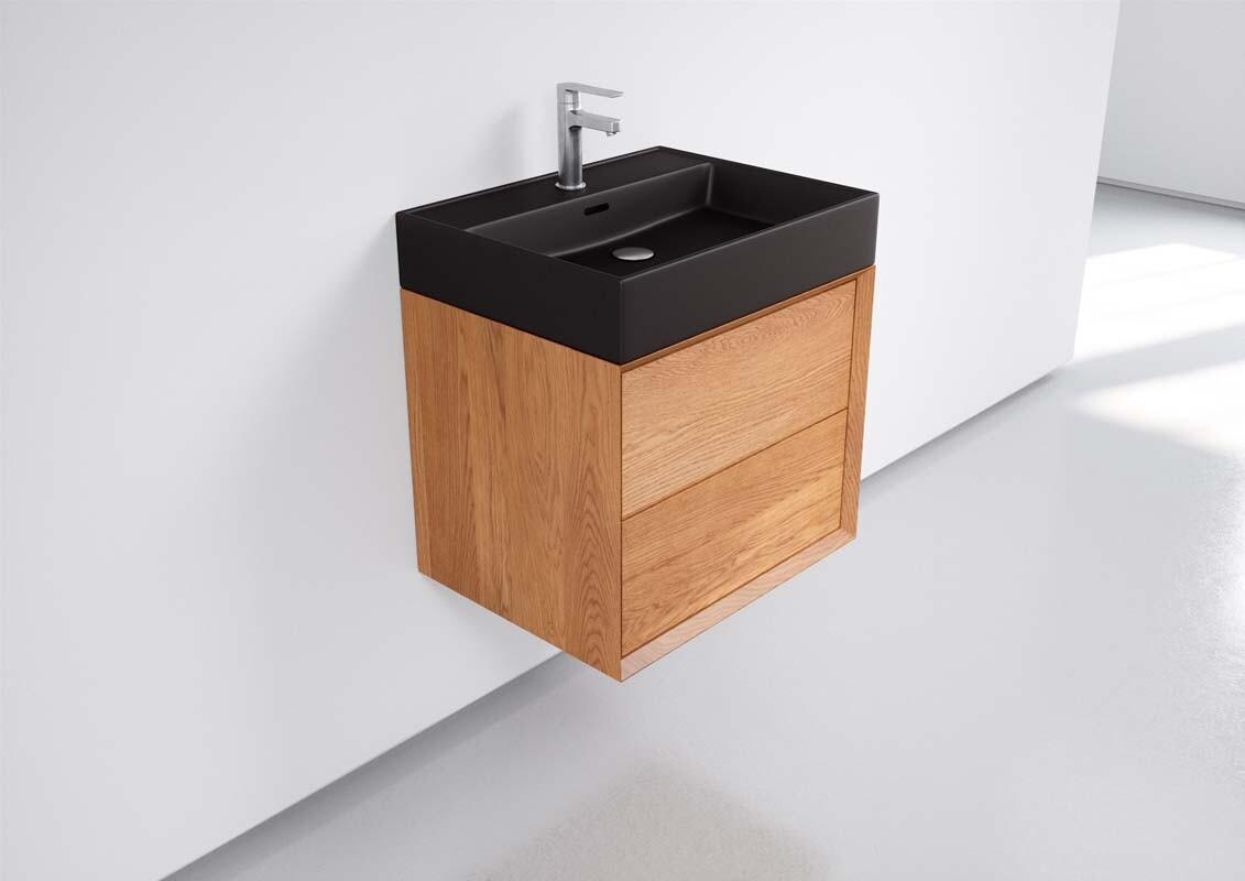 Eiche Badschrank Mit Becken Schwarz 60cm One Bath