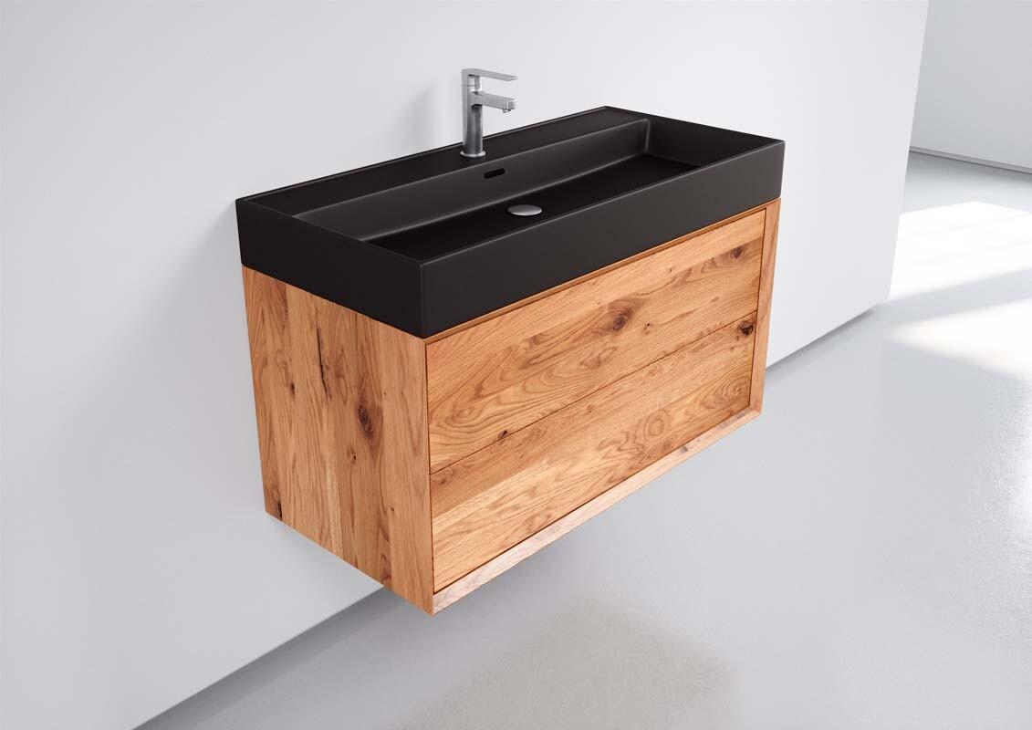 Bad Unterschrank Eiche massiv inkl. Handwaschbecken in Schwarz Keramik  200cm, 20 Auszüge