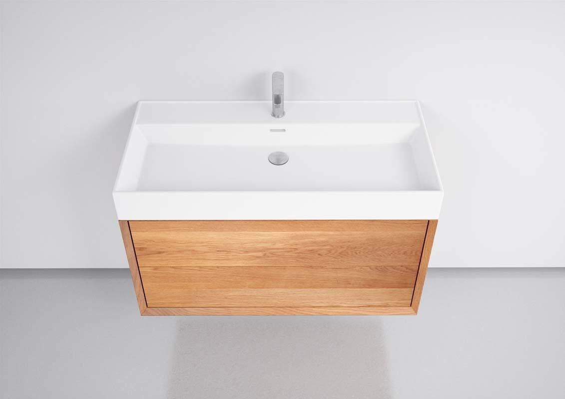 Badezimmer Unterschrank hängend Eiche mit Handwaschbecken Weiss matt 200cm,  20 Schubladen