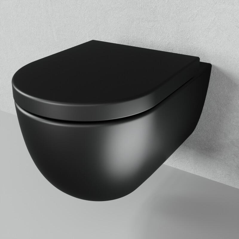 Spurlrandloses Hangetoilette Schwarz Matt One Bath