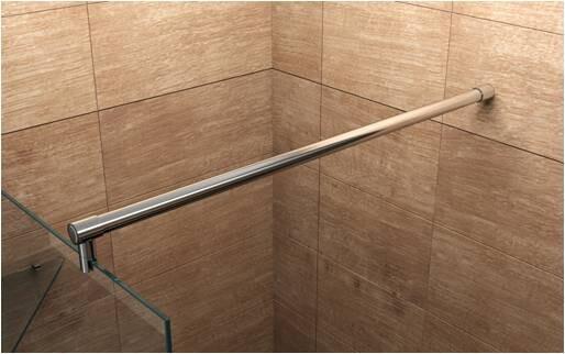 Glas Duschwand mit Schräg Ausschnitt 20cm Höhe, Breite nach Wahl
