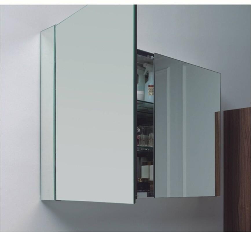Aluminium Spiegelschrank 100 Cm Mit 2 Ablagefachern