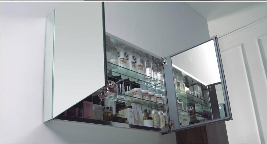 Aluminium Spiegelschrank 100 cm mit 2 Ablagefächern