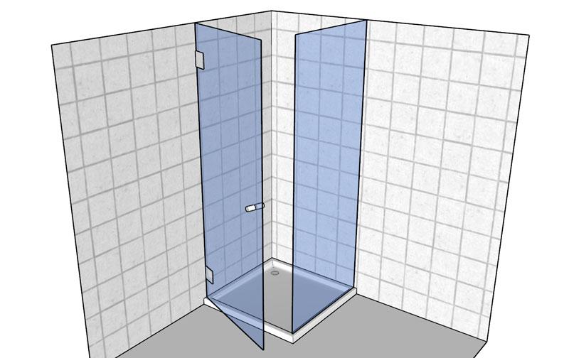 Beispiel: Duschkabine Linksanschlag