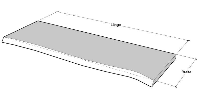Waschtisch mit Baumkante: Angabe Breite bezieht sich auf Oberseite